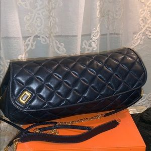 Judith Leiber Navy quilted Leather bag gold chain